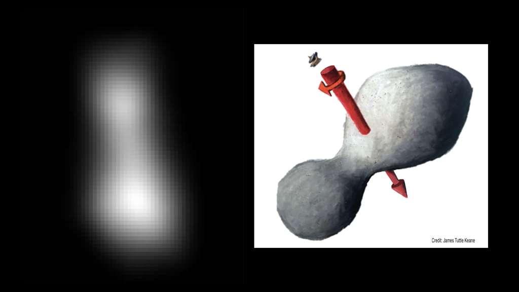 À gauche, image composite de l'astéroïde Ultima Thulé réalisée à partir de deux images prises par l'instrument Long-Range Reconnaissance Imager (LORRI) de New Horizons le 31 décembre 2018. À droite, une vue d'artiste de l'apparence possible de l'astéroïde avec son axe de rotation, en rouge. © Nasa/JHUAPL/SwRI/James Tuttle Keane