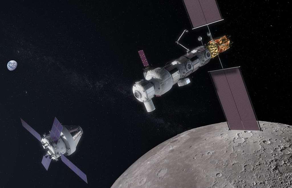 Vue d'artiste de la future station spatiale lunaire Gateway. Cet avant-poste de l'exploration humaine est un projet international dirigé par la Nasa, dont le premier élément sera lancé d'ici quelques années avec comme objectif une mise en service partielle d'ici 2024-2025. © Nasa