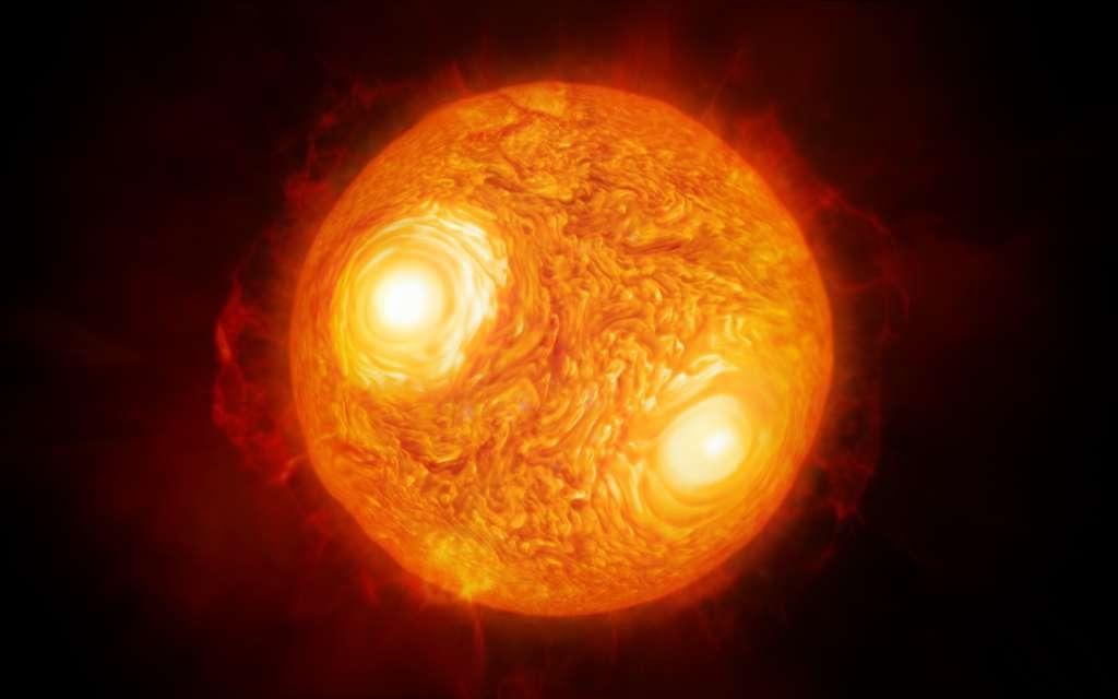 Illustration de la supergéante rouge Antarès créée à partir des données sur la surface de l'étoile collectées avec le VLTI. © ESO, M. Kornmesser