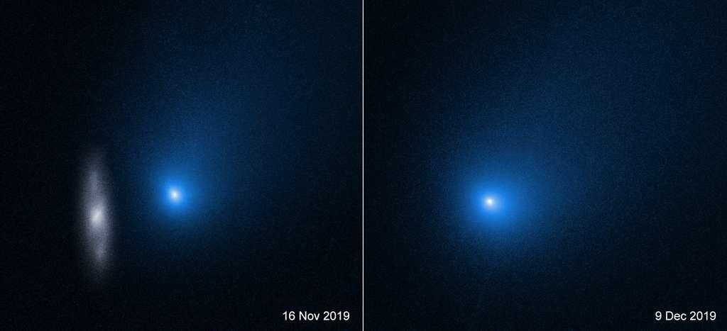 La comète 2I / Borisov, photographiée avec le télescope spatial Hubble de la Nasa, une des photos montrant une galaxie (à gauche), est le deuxième objet interstellaire connu pour être entré dans notre Système solaire après le désormais célèbre 'Oumuamua. Une nouvelle analyse de la coma brillante et riche en gaz de Borisov indique que la comète est beaucoup plus riche en monoxyde de carbone qu'en vapeur d'eau, une caractéristique très différente des comètes de notre Système solaire. © Nasa, ESA et D. Jewitt (UCLA)