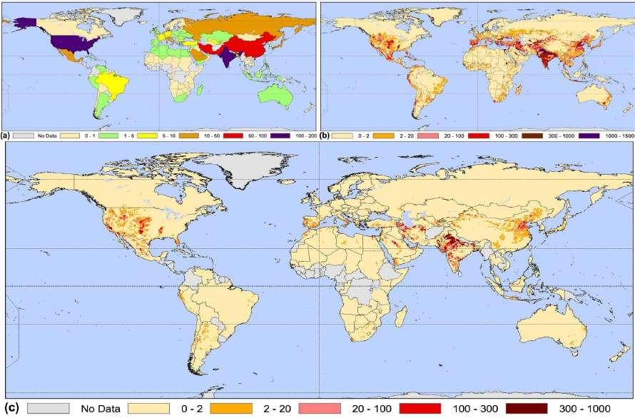 La carte (a) présente la quantité d'eau extraite du sol par les différents pays en 2000 (en km3/an). La seconde infographie (b) montre les demandes en eau pour irriguer les cultures dans le monde entier (km3/an). La représentation du bas (c) illustre avec quelle précision le modèle peut représenter les régions qui pompent de l'eau dans les sous-sols pour irriguer les cultures. Cette carte est beaucoup plus précise que la représentation (a). Elle permet de mieux cerner les problèmes. © Wada et al. 2012, Water Resources Research