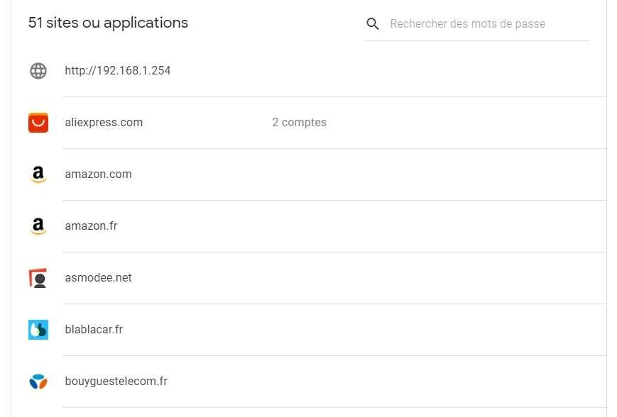 Tous les sites dont le mot de passe a été enregistré sont présents sur cette page. © Google Inc.