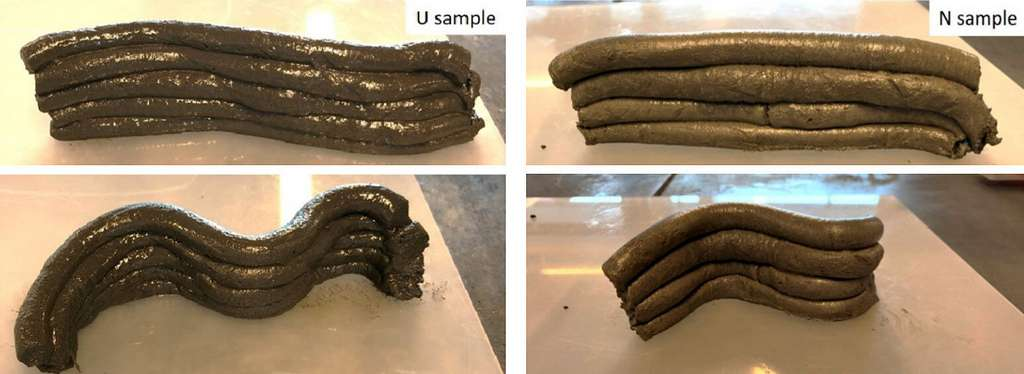 Ici, des échantillons de béton lunaire fabriqués avec 3 % d'urée (U sample) ou avec 3 % de naphtalène (N sample), un additif commun. Avec des performances semblables. © Shima Pilehvar et al., Journal of Cleaner Production