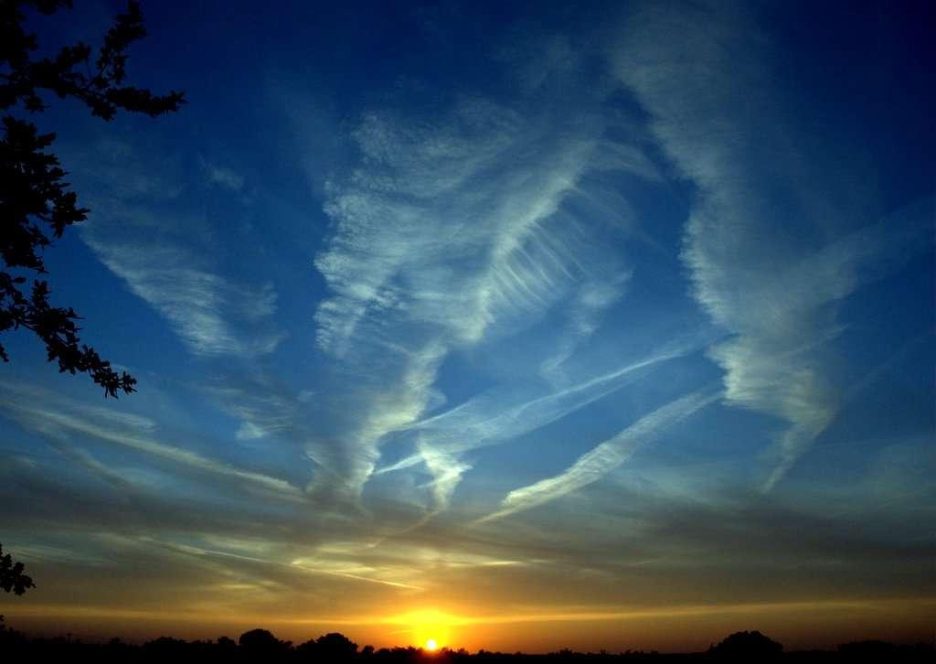Les traînées laissées par les gaz d'échappement des avions forment des nuages qui piègent la chaleur réémise par la Terre. © Ken Douglas, Flickr