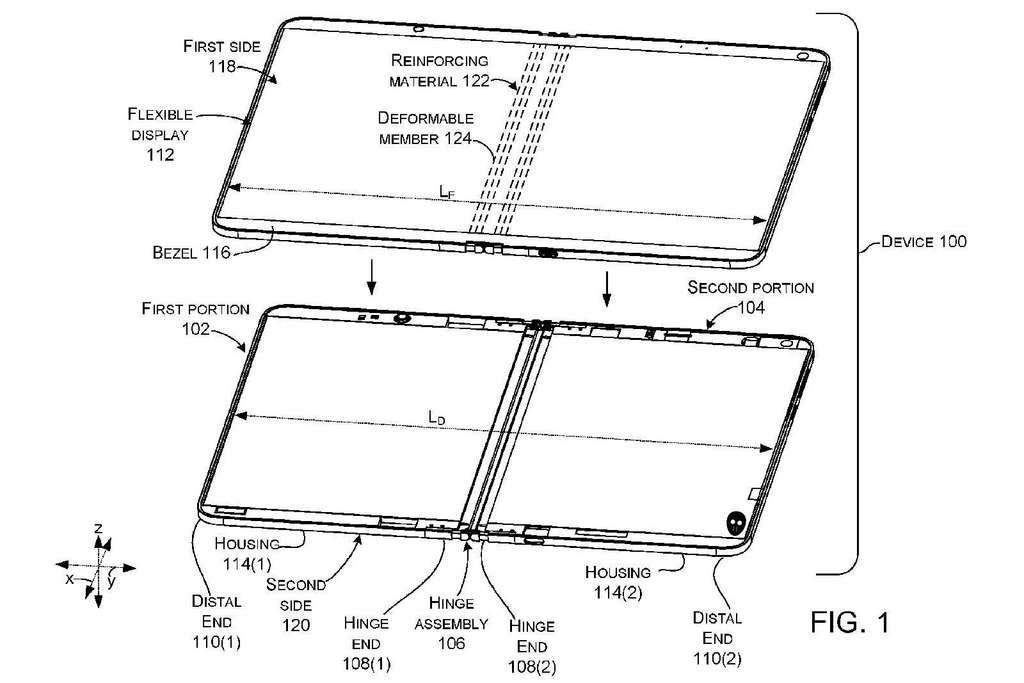 Smartphone ou tablette ? Difficile de savoir ce que prépare Microsoft avec cette charnière pour écran pliable. © Microsoft, Wipo