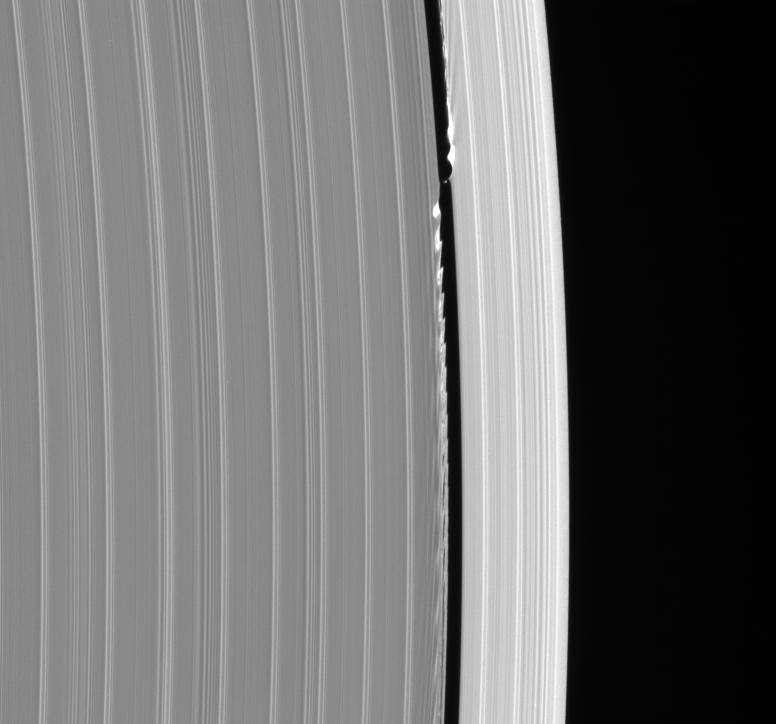 Autre image spectaculaire prise par la sonde Cassini, où l'on voit des ondulations dans la structure des anneaux de Saturne, créées par le passage de la petite lune Daphnis. © N.A.S.A, JPL