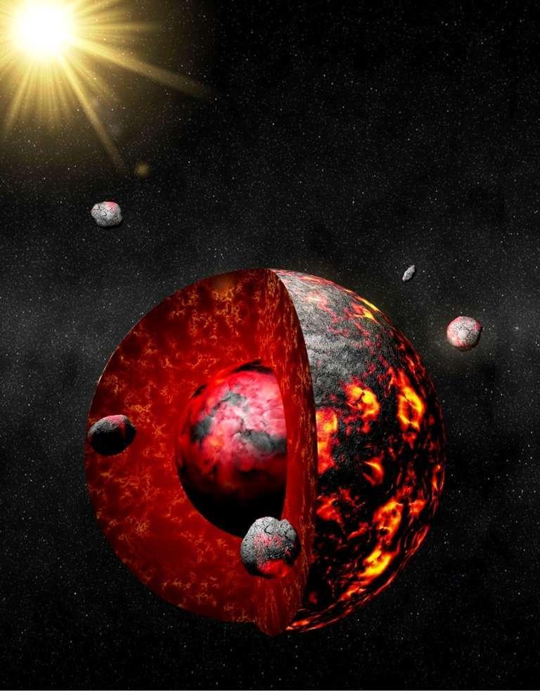 Une vision d'artiste de la Terre alors qu'elle venait juste de se différencier en formant son noyau ferreux et son manteau à l'Hadéen il y a plus de 4,5 milliards d'années. Le bombardement de petits corps célestes était encore intense. © Antoine Pitrou, IPGP
