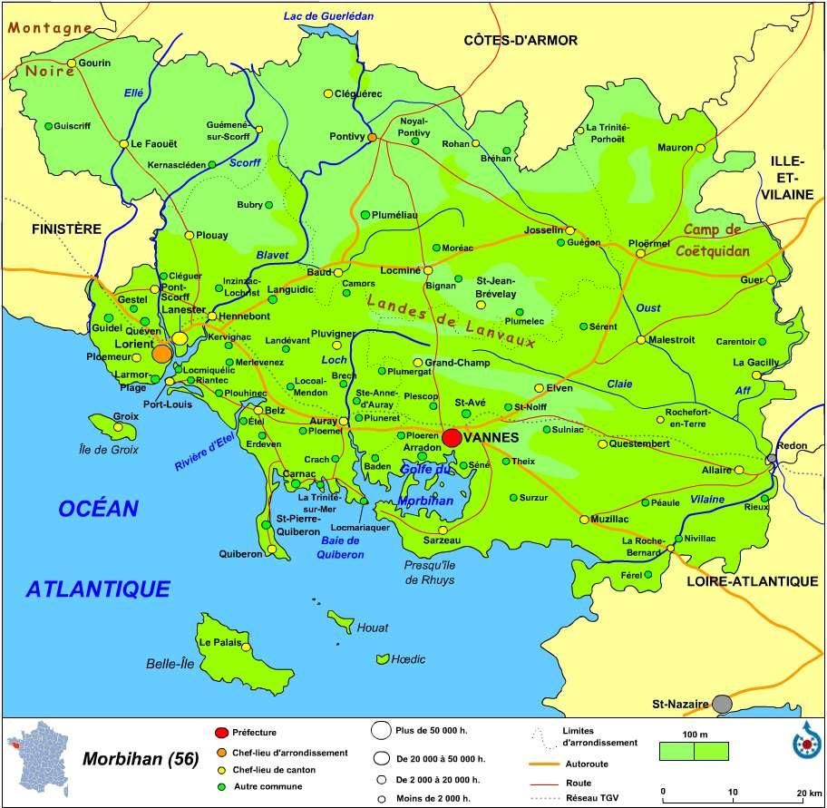 Carte du Morbihan, avec une petite carte de situation en bas à gauche. © Wikipédia, GNU 1.2
