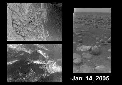 Images successives de Titan lors de la descente de Huygens