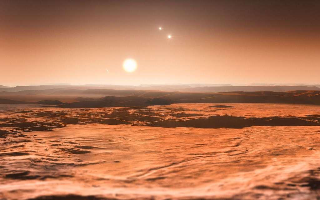 Vue d'artiste du système de Gliese 667 C, avec les étoiles Gliese 667 A et Gliese 667 B sur la droite. L'observateur est situé sur la superterre Gliese 667 Cd, et il voit sur la gauche la superterre 667 Ce. © M. Kornmesser, ESO
