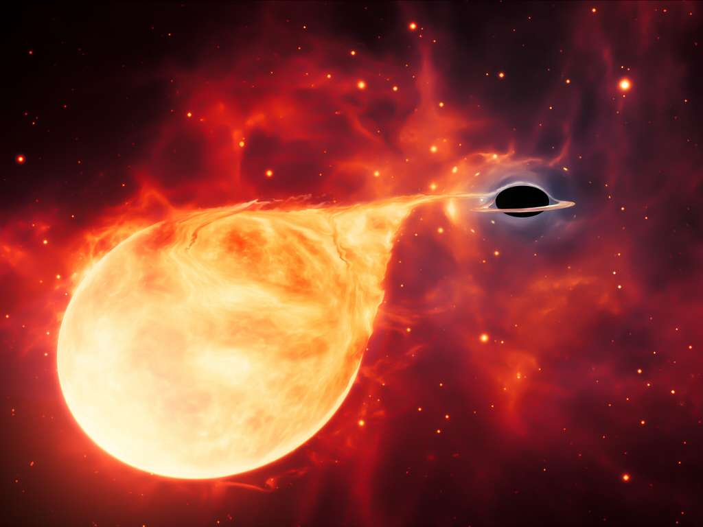 Cette impression d'artiste représente une étoile déchirée par les forces de marée d'un trou noir de masse intermédiaire (IMBH), entouré d'un disque d'accrétion. © ESA, Hubble, M. Kornmesser
