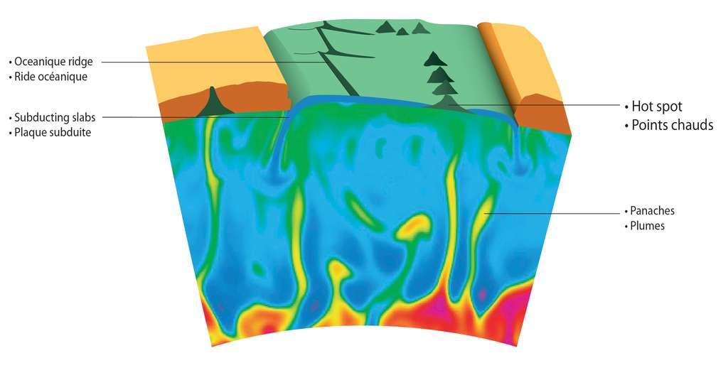 Illustration montrant comment les panaches mantelliques peuvent être émis à partir de la frontière noyau-manteau (bas de l'image) pour atteindre la croûte terrestre (couches verte et orange au sommet de la coupe). En raison du déplacement latéral des plaques tectoniques à la surface, les panaches mantelliques peuvent créer une série de volcans d'âges différents alignés les uns par rapport aux autres. Une ride océanique et des zones de subduction sont également représentées. © Denis Andrault, Henri Samuel, ESRF