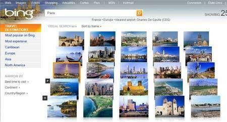 Un thème, comme, ici, Travel Destinations, montre un tapis d'images que l'on fait dérouler à la souris, avec la molette ou avec l'ascenseur à droite. Pour aller à Paris, cliquer sur la tour Eiffel.