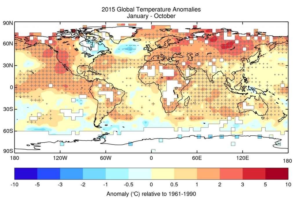 Anomalies de la température moyenne de la période janvier-octobre 2015, d'après le jeu de données HadCRUT.4.4.0.0. Les croix (+) désignent des températures supérieures au 90e percentile, c'est-à-dire anormalement élevées, et les tirets (-) des températures inférieures au 10e percentile, c'est-à-dire anormalement basses. Les grandes croix et les grands tirets correspondent à des températures situées en dehors de la fourchette comprise entre le 2e et le 98e percentile. © Met Office Hadley Centre