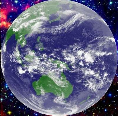 Figure 5. Image infrarouge de Meteosat 5. La région intertropicale est une zone de convection profonde tout autour du Globe, propice à la formation de cumulonimbus de très grandes dimensions. On la nomme région de convergence intertropicale (ou InterTropical Convergence Zone : ITCZ) la région la plus active est située dans le Pacifique équatorial ouest. © DR