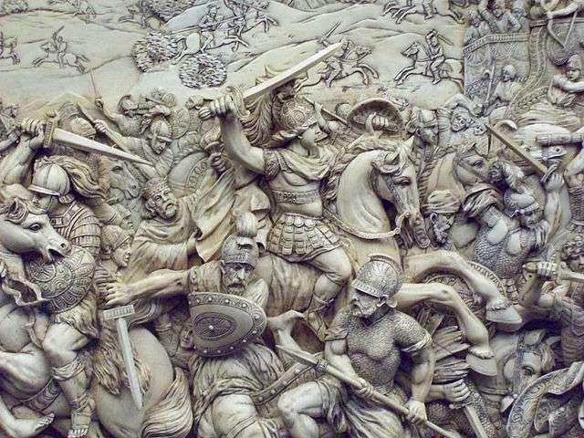 La bataille de Gaugamela, Alexandre se battant et chevauchant son cheval Bucephalus. © Luis Garcia, Wikimedia commons, CC 3.0