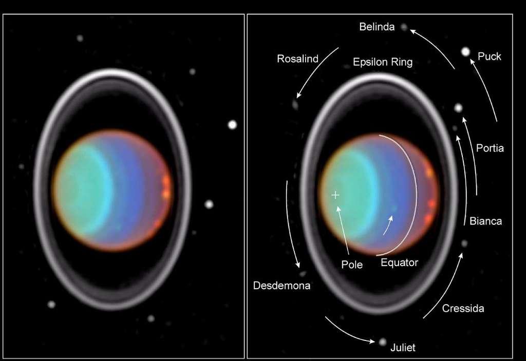 Une image en fausses couleurs d'Uranus observée par Hubble. L'image de droite précise la position de plusieurs des lunes d'Uranus. © Nasa