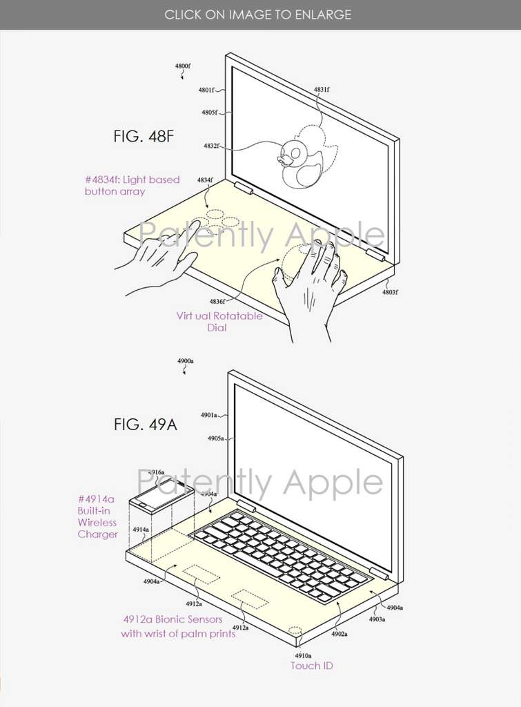 La surface tactile peut à la fois recharger un iPhone, dévoiler un clavier virtuel, mais aussi un Touchpad. © Patenty Apple