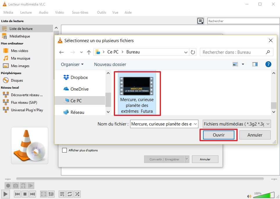 Il est à présent temps de choisir la vidéo dont vous voulez extraire la piste audio. © VideoLAN