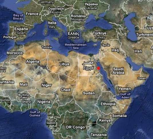 Ras Samadaï, le site privilégié des dauphins, indiqué en rouge sur cette carte. © Google map