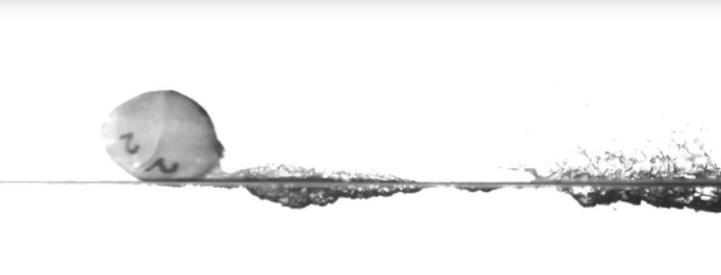 Les chercheurs de l'université de l'État de l'Utah (États-Unis) ont observé que leurs sphères pouvaient changer de formes pour devenir oblongues et se mettre à «marcher» sur l'eau. © Université de l'État de l'Utah, YouTube