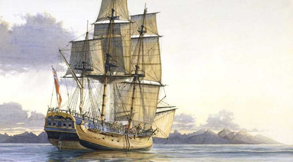 Aquarelle représentant l'Endeavour de James Cook, par le peintre de marine Gregory Robinson. © Ouest France.