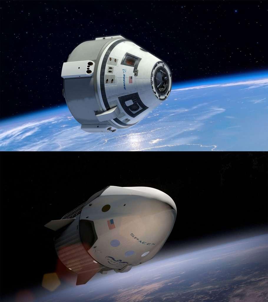Les deux premiers vaisseaux spatiaux privés capables de transporter des astronautes vers la Station spatiale internationale (ISS). En haut, le CST-100 de Boeing et, en dessous, la version habitée de la capsule Dragon de SpaceX. © Boeing et Space X