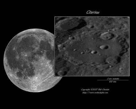 Cliquer pour agrandir. Le cratère Clavius et sa localisation au pôle sud. Crédit : Bill Christie