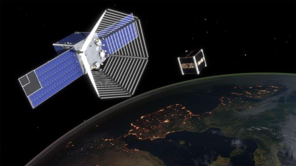 Étude conceptuelle, réalisée par ClearSpace, d'un satellite chasseur de débris, ici sur ce dessin, s'apprêtant à capturer un satellite en fin de vie. © EPFL, J.Caillet