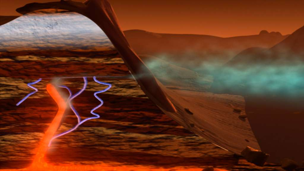 S'il existe, le méthane pourrait être produit par une activité liée au volcanisme passé de la planète Mars. © Nasa, GSFC