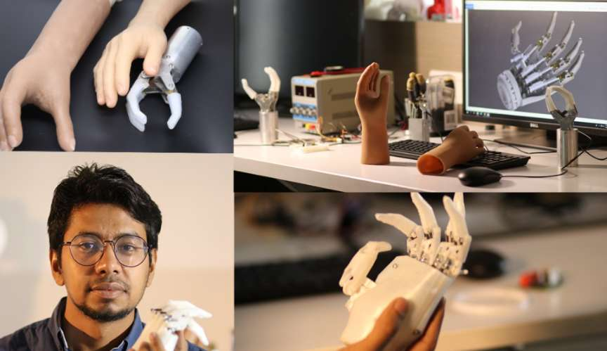 La prothèse ne pèse que 450 grammes et se remplace aisément. © Inali