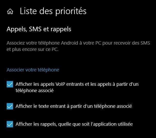 Vous pouvez définir comme prioritaires certaines notifications reçues depuis un téléphone associé. © Microsoft