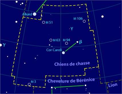 Les Chiens de Chasse, une modeste constellation qui abrite pourtant cinq objets du catalogue Messier dont la galaxie active M 106. Crédit licence Commons