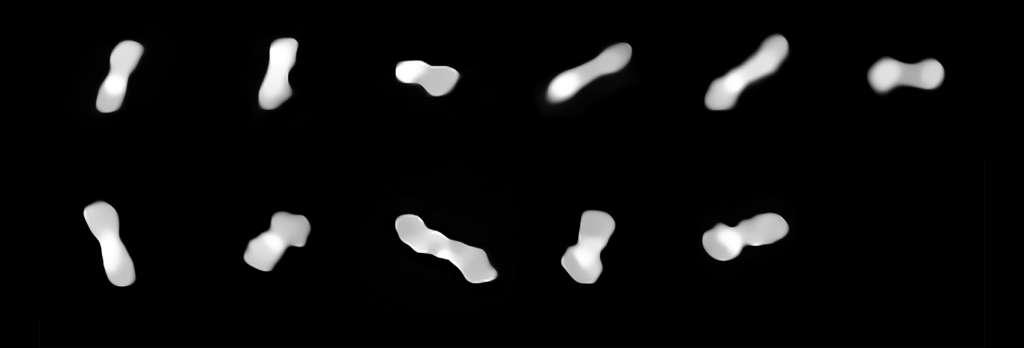 Ces onze images figurent l'astéroïde Kleopatra, observé sous divers angles au fil de sa rotation qui dure moins de six heures. Les clichés ont été pris à différentes époques comprises entre 2017 et 2019 au moyen de l'instrument Sphere (Spectro-Polarimetric High-contrast Exoplanet REsearch) qui équipe le VLT de l'ESO. © ESO/Vernazza, Marchis et al./Mistral algorithm (Onera/CNRS)