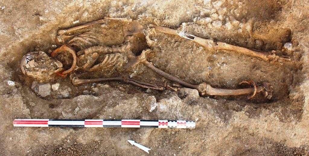 Sépulture 2073. Individu masculin inhumé en décubitus, entravé au cou et à la cheville droite. L'entrave de la cheville se compose d'un anneau en fer fermé par enroulement. Les deux extrémités du jonc sont solidarisées par rivetage. Un second anneau a été passé dans l'entrave avant sa fermeture. Ce mécanisme est donc inamovible et seule une découpe permet de libérer l'individu. © Frédéric Méténier, Inrap 2014.