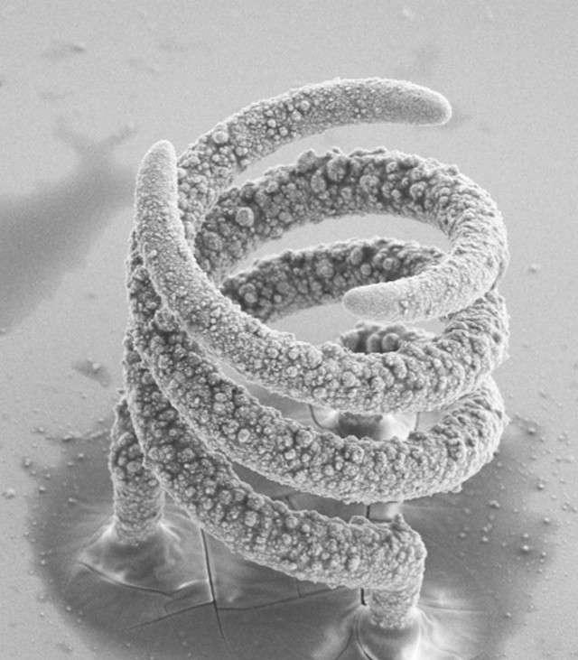 Voici l'un des objets 3D en cuivre fabriqué grâce à la technique d'impression microscopique de l'ETH Zurich. L'image a été agrandie, la taille réelle est en réalité de 50 micromètres. © ETH Zurich, Luca Hirt