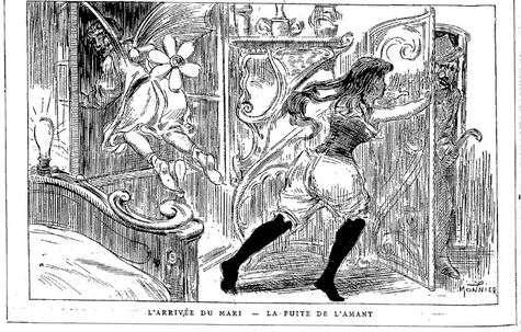 Cette gravure est l'une de nos préférées. Elle représente une « machine à faire partir très vite l'amant de madame ». L'histoire ne dit pas s'il existe une machine pour que le mari rattrape encore plus vite l'amant... © Monnier