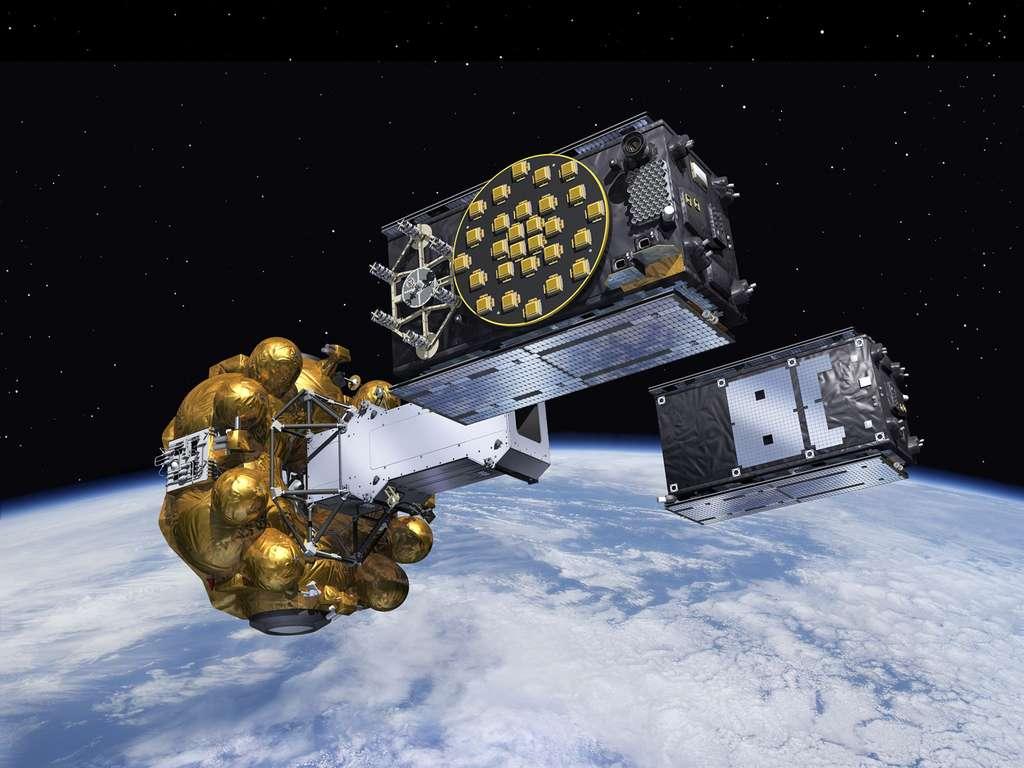 L'étage Fregat, le dispenseur et les deux satellites Galileo qui s'en séparent. © Esa, J. Huart