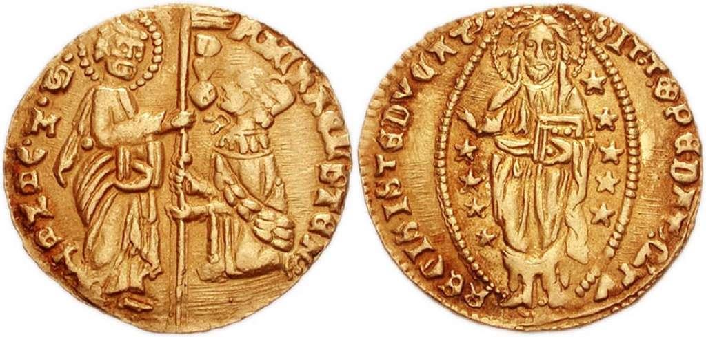 Ducat en or de Venise, 21 mm - 3,5 g ; frappé entre 1400 et 1413. Photo CNG. © Wikimedia Commons, domaine public.