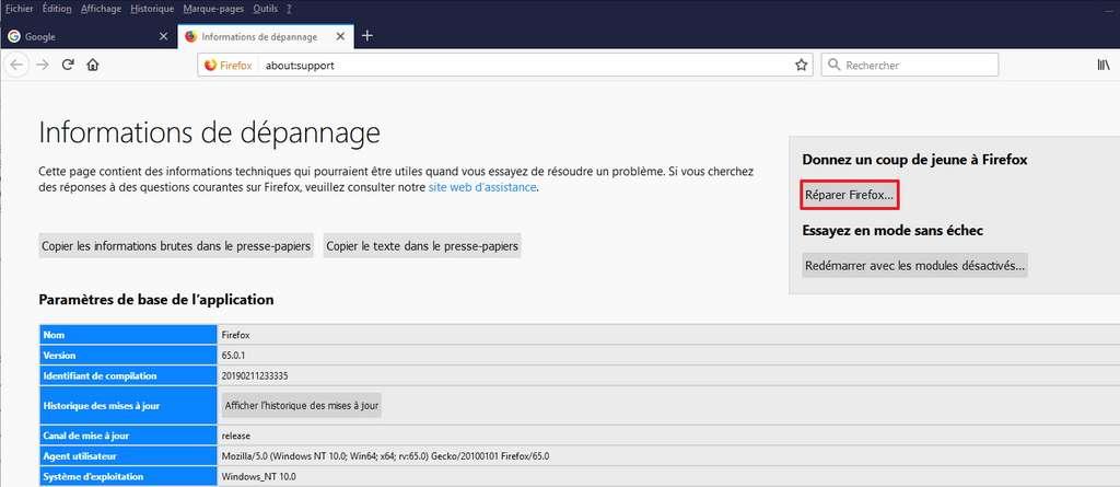 Réparer Firefox vous permettra de tout effacer et de repartir du bon pied avec Firefox. © Mozilla Foundation