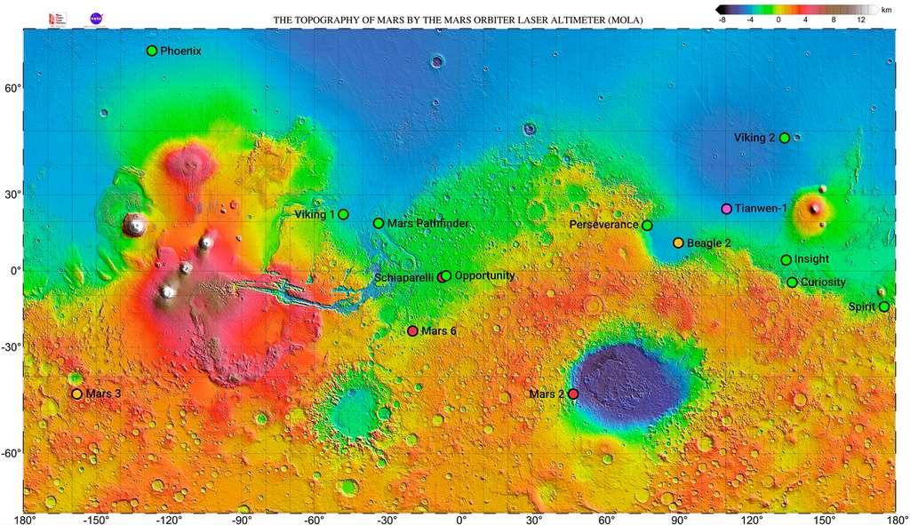 Locatie van verschillende landingsmissies van Mars op de hoogtekaart.  © NASA, Mola Science Team, Wikipedia