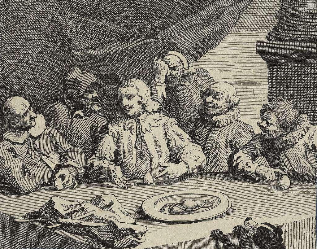La démonstration de l'œuf de Colomb, illustrée par William Hogarth. © Domaine public
