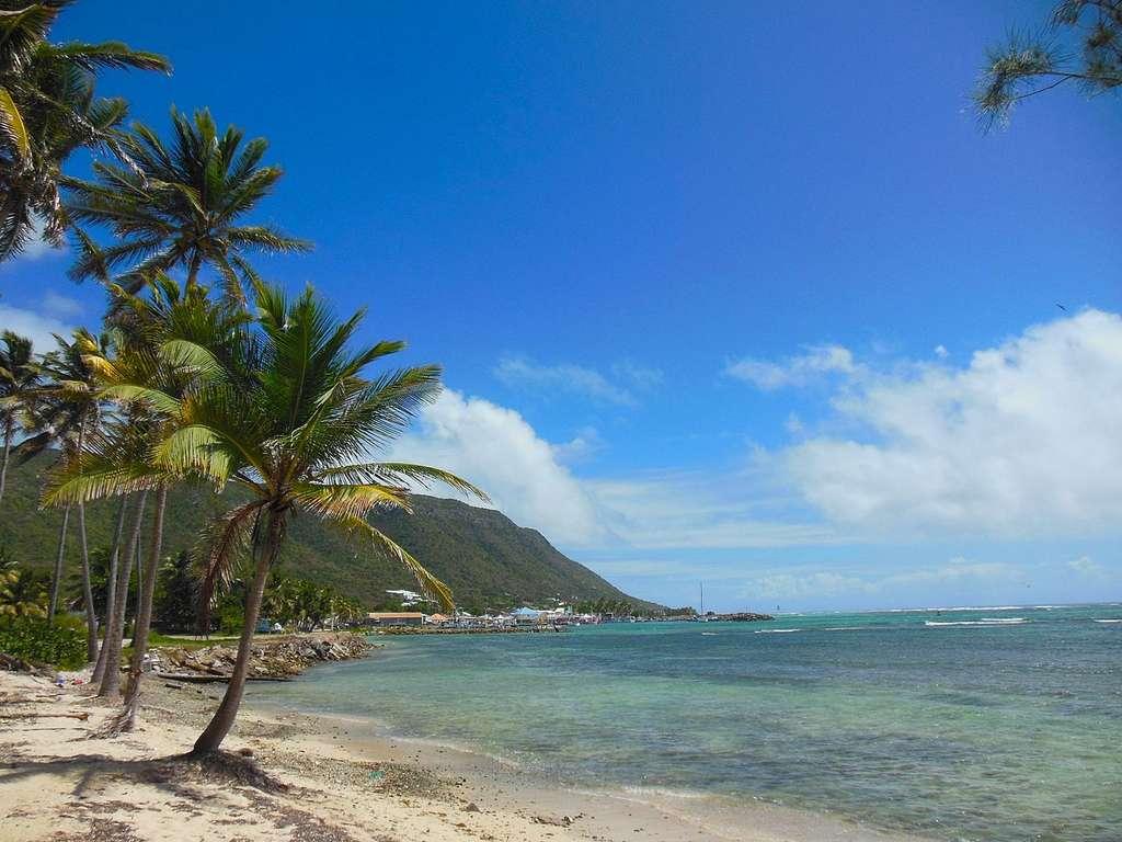 Plage de Beauséjour à La Désirade et vue sur l'est de l'île. © Desiderio Mauro, Wikimedia commons, DP