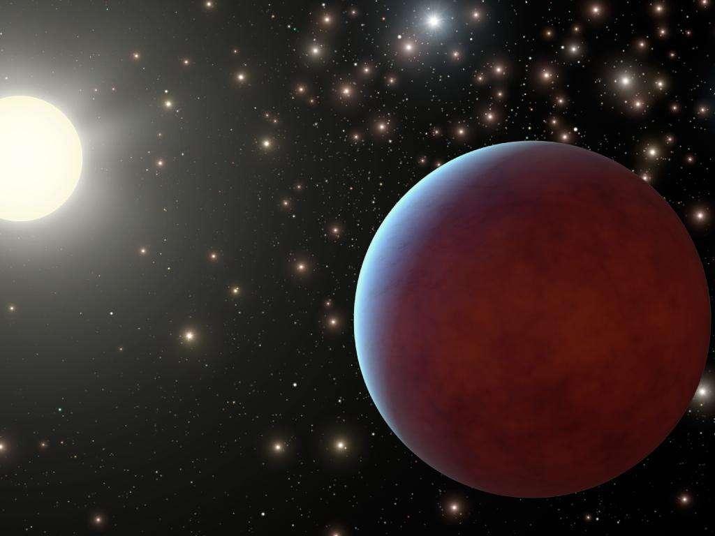 Une vue d'artiste d'une des Jupiter chaudes découvertes dans l'amas de la Crèche. Son âge est inférieur à 600 millions d'années. © Nasa