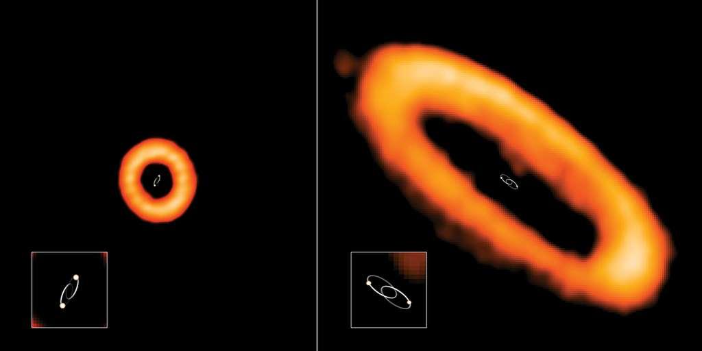 À l'avenir, les chercheurs devront expliquer quel phénomène se cache derrière cette corrélation forte entre défaut d'alignement du disque protoplanétaire et période orbitale du système binaire. À gauche, le système stellaire HD 98800 B dont le disque est mal aligné avec ses étoiles. Leur période orbitale est de 315 jours. À droite, dans le système stellaire AK Sco, le disque est aligné sur l'orbite des étoiles. Leur période orbitale est de 13,6 jours. © Alma (ESO/NAOJ/NRAO), I. Czekala and G. Kennedy; NRAO/AUI/NSF, S. Dagnello