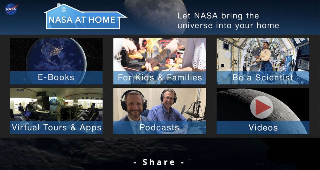 Le savoureux programme de découvertes proposé par Nasa at home. © Nasa