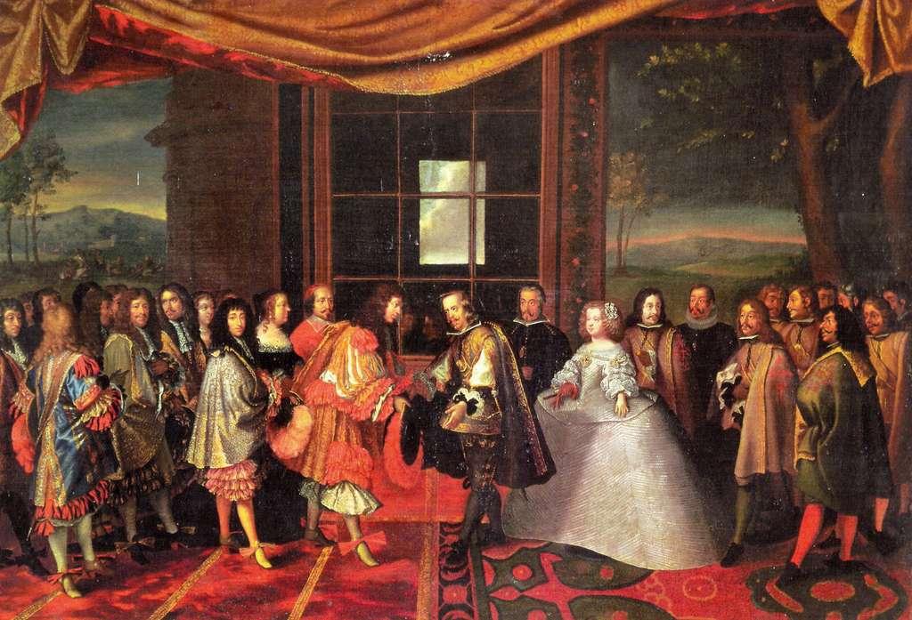 Entrevue de Louis XIV et Philippe IV d'Espagne pour le traité des Pyrénées de 1659, par Jacques Laumosnier, XVIIe siècle. Musée de Tessé, Le Mans. © Wikimedia Commons, domaine public