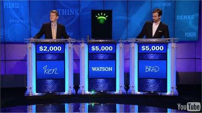 En 2011, l'ordinateur Watson a remporté le jeu télévisé Jeopardy!, basé sur des questions de culture générale. En trois manches, il a gagné un million de dollars (0,9 million d'euros aujourd'hui), une somme reversée à des œuvres. © IBM, YouTube
