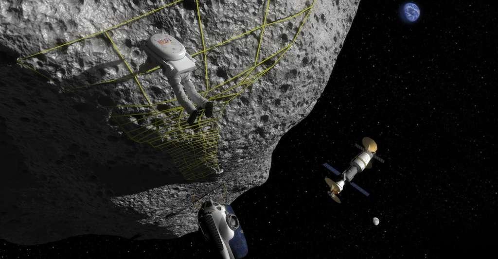 Dessin d'artiste d'un astronaute se posant sur une astéroïde. © NASA