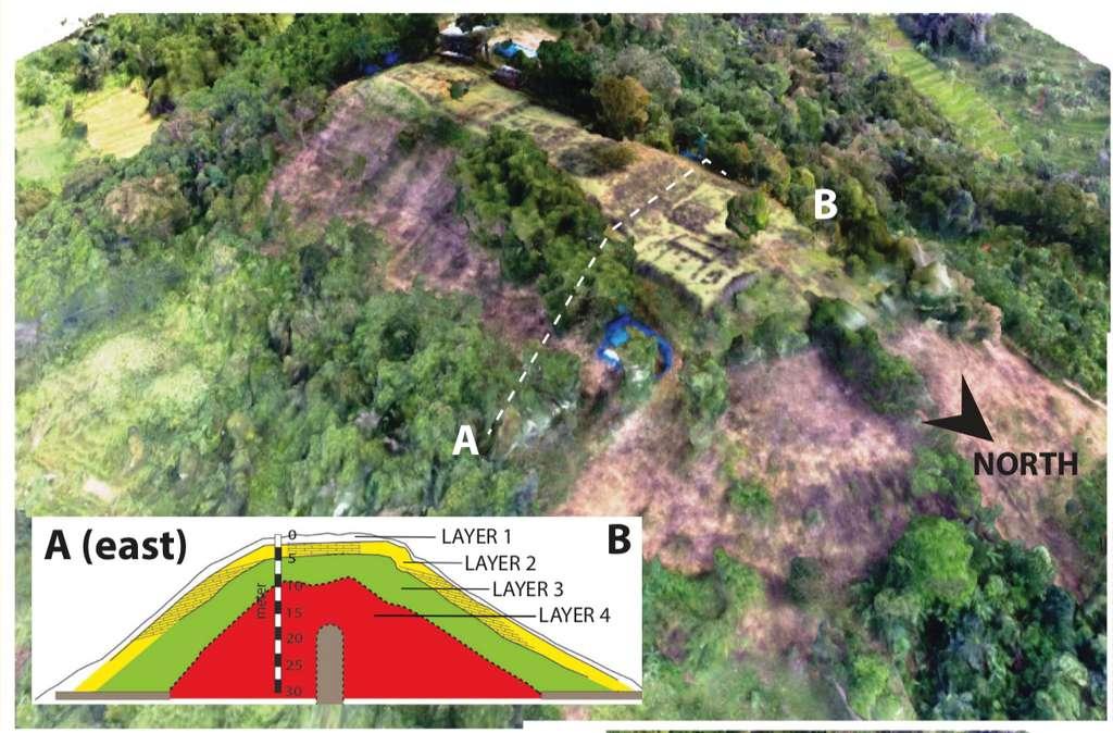 Une coupe de la colline de Gunung Padang montrant les différentes couches de la structure. © Danny Hilman Natawidjaja